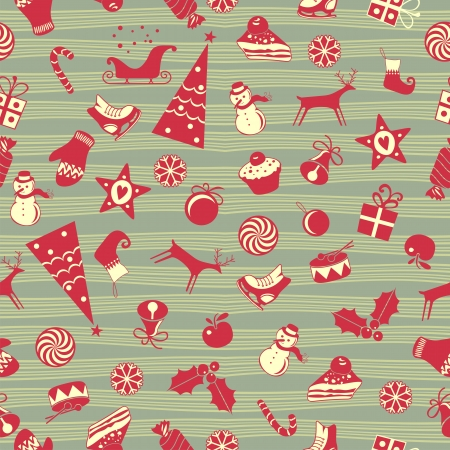 Cute Christmas seamless pattern with assorted seasonal objects Vector
