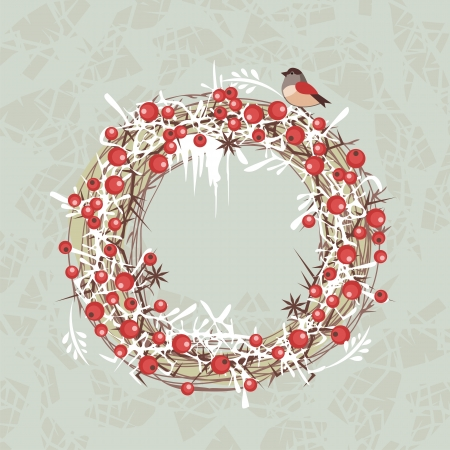 Decorative Christmas berries wreath on abstract background Stock Vector - 24539175