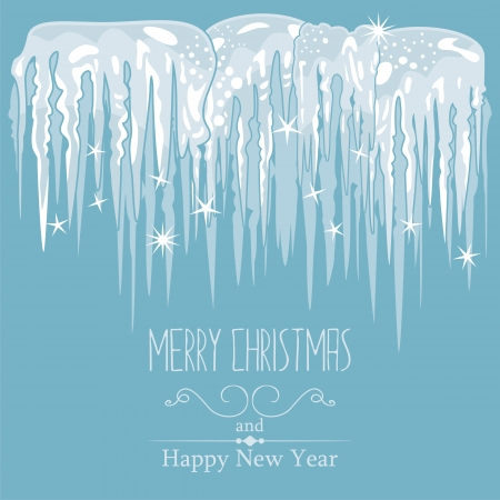 Winter card, seasonal blue background with icicles