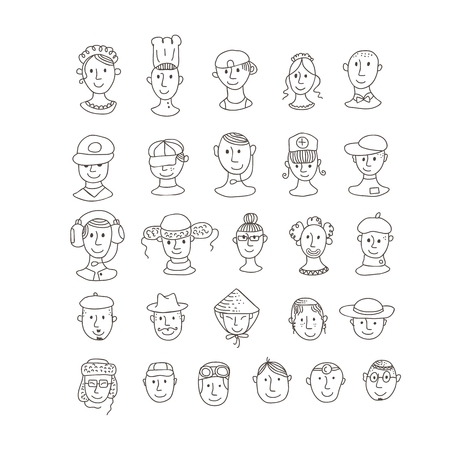 Set of smiling, various ethnic faces and professions Vector