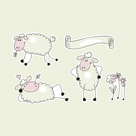 Set with cute sheep in funny situations and banner Vector