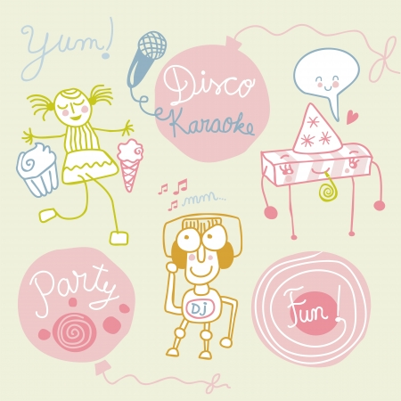 Set with funny party figures and elements Vector