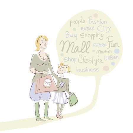 Shopping mother with daughter and word cloud Vector