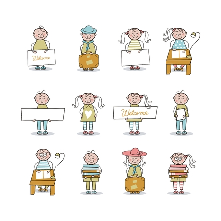 Set with cartoons of children in educational activities Vector
