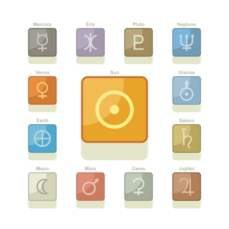 Icons pack with symbols of major planets, sun and moon Vector