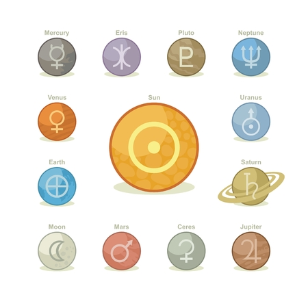 Icons pack with symbols of major planets, sun and moon Ilustração