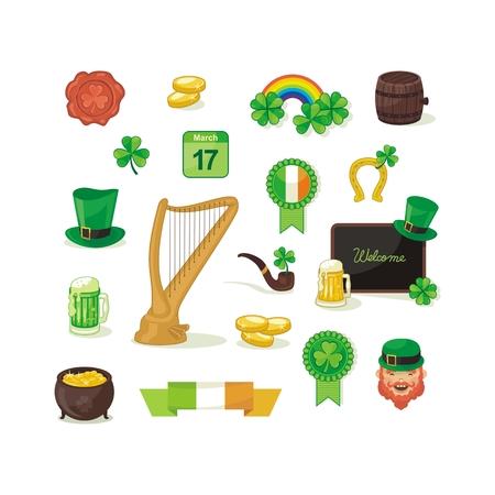 Set with Saint Patrick Day objects and symbols Ilustração