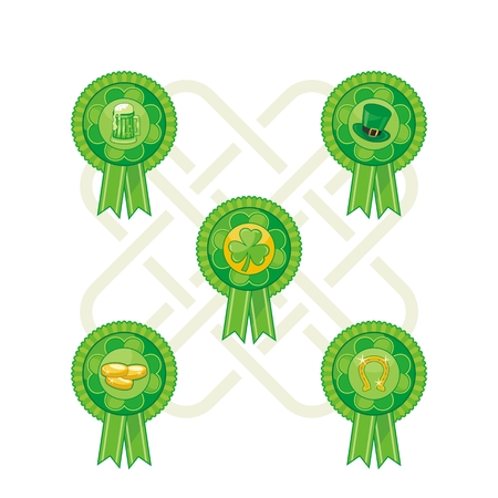 Badges set with Saint Patrick Day objects and symbols Vector