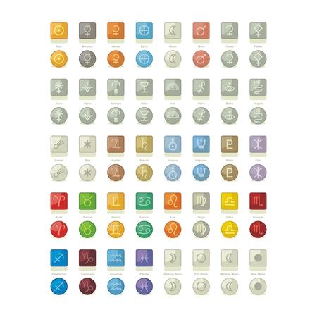 Icons Pack con los símbolos de los objetos del sistema solar celestiales, fases de la luna, las constelaciones del zodiaco y los signos Foto de archivo - 26519355