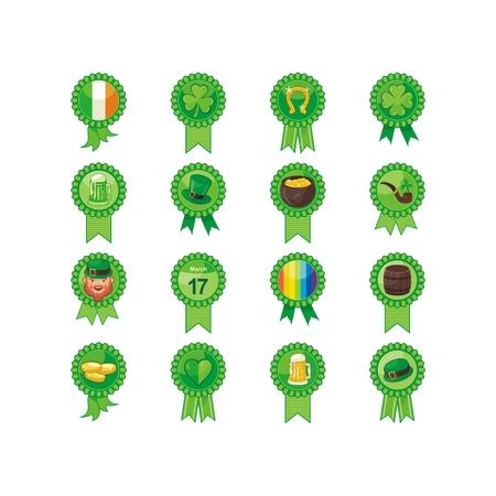 Badges set with Saint Patrick Day objects and symbols Ilustração