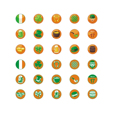 Icons set with Saint Patrick Day objects and symbols