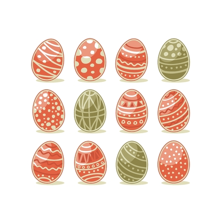 Decorative painted Easter eggs set with abstract patterns Ilustração