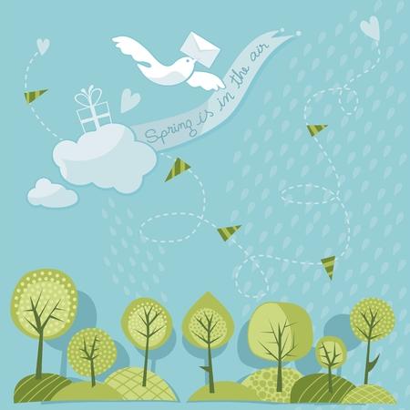 Spring trees and sky with messenger dove Ilustração