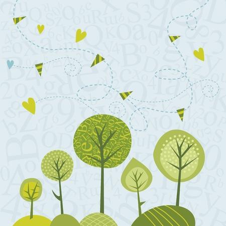 Spring trees illustration on letters abstract background Ilustração
