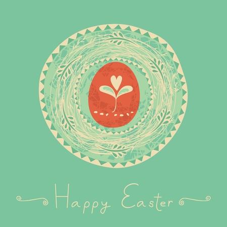 Easter illustration with decorative nest and egg Ilustração