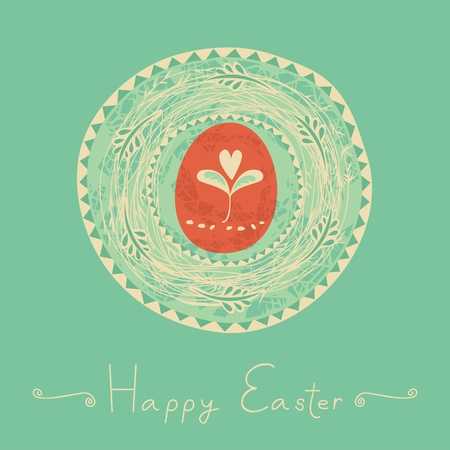 Easter illustration with decorative nest and egg Illustration
