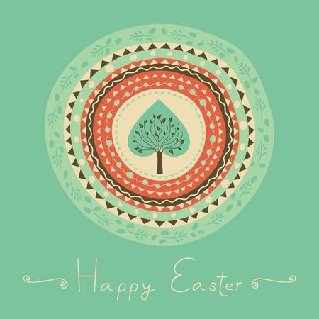 Easter illustration with concentric decorative pattern and tree Ilustração