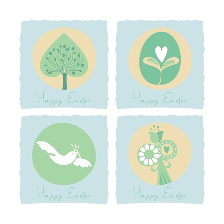 Easter set with seasonal elements and symbols