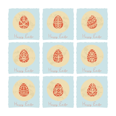 Decorative Easter eggs mini cards or labels set