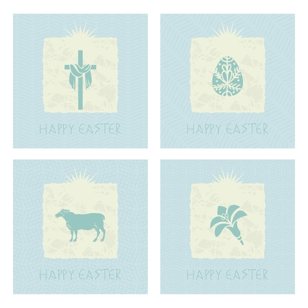 Set of Easter mini cards with symbols