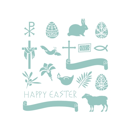 pigeon egg: Set of various Easter symbols and objects Illustration