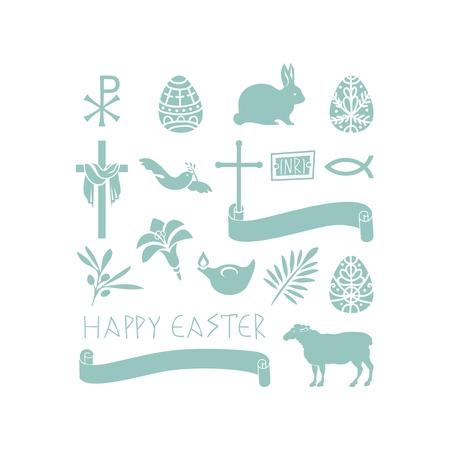 Set of various Easter symbols and objects Ilustração