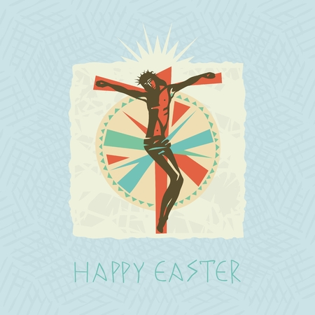 Easter card with concentric decorative pattern and crucified Christ