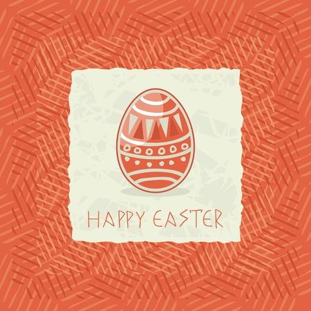 Greeting card with Easter egg on textured background Ilustração