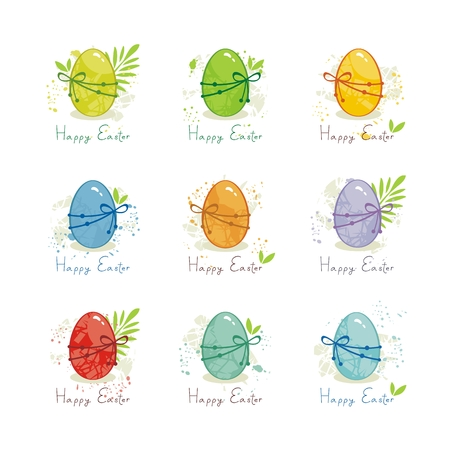 Set with colorful Easter eggs on white
