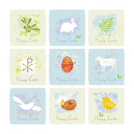 Small cards or labels set with Easter symbols