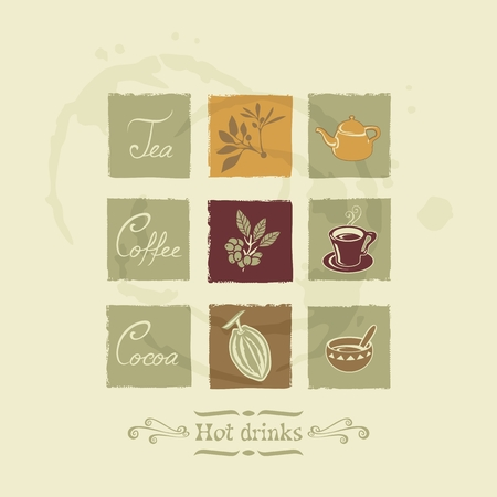 Beverages elements for tea, coffee and cocoa on stained background  No fonts and no transparencies
