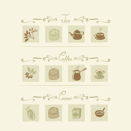 steam of a leaf: Beverages elements set with tea, coffee and cocoa