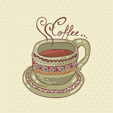 Decorated coffee cup on polka dots background Ilustração