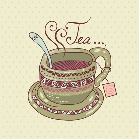 Decorated tea cup on polka dots background