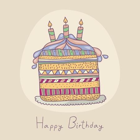 Happy birthday illustration with festive layered cake Ilustração