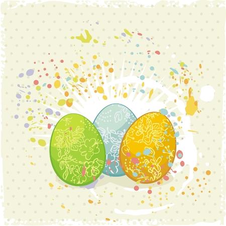 Painted Easter eggs with floral decorations, on artistic background Ilustração