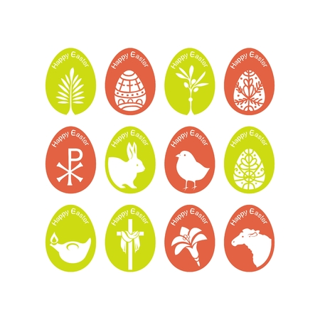 Set of eggs with various Easter symbols Vector