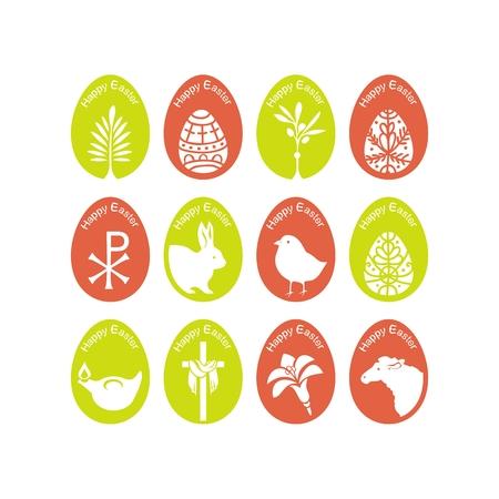 Set of eggs with various Easter symbols Ilustração
