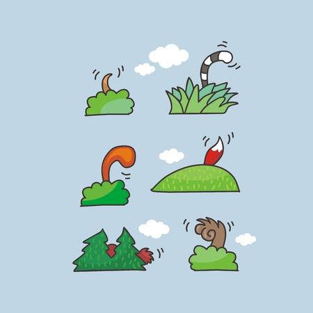 Cartoons set with various hiding animal tails Ilustração