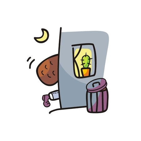 Humorous night scene with sneaking thief