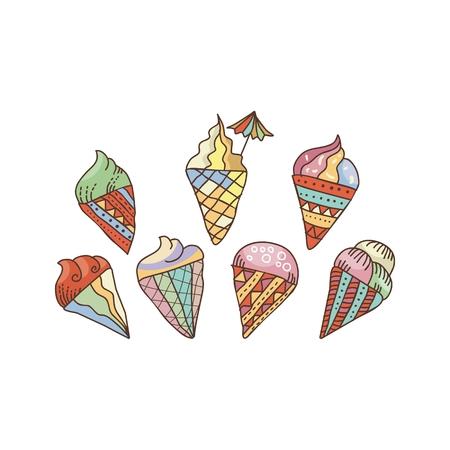 Colorful, decorative set with ice cream cones Ilustração