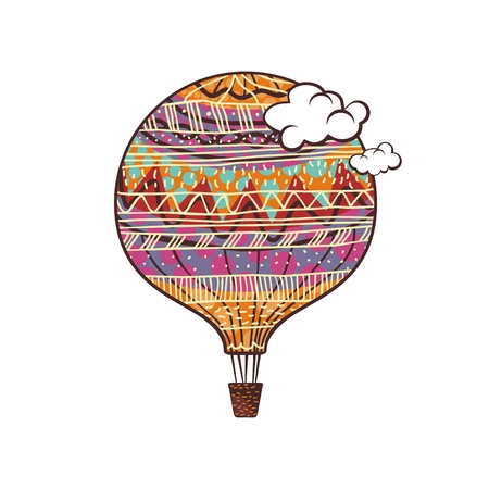 Decorated, colorful hot air balloon and clouds Ilustração