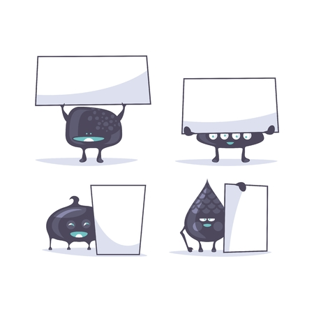 Set of funny creatures holding banners Ilustração