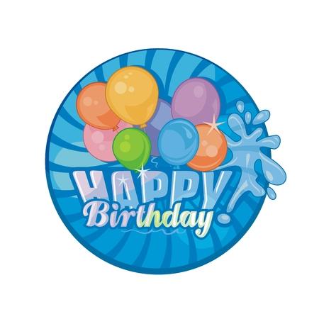 Festive Happy Birthday with colorful balloons group Ilustração