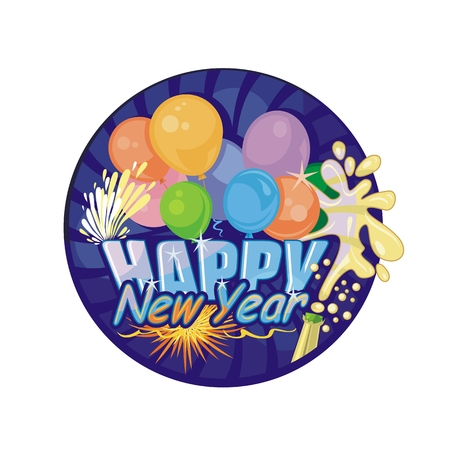 Festive Happy New Year with colorful balloons and fireworks