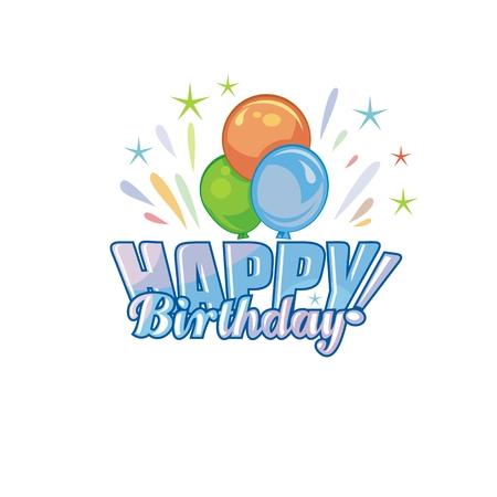 Festive, custom Happy Birthday text, with balloons
