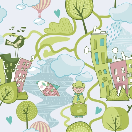 Cute landscape background or seamless pattern