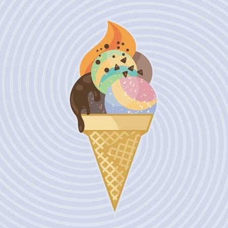 Big ice cream on twisted  retro background