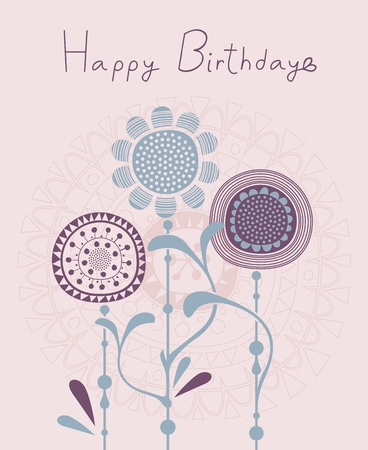 Birthday card background with floral decorative elements