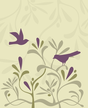 Decorative, festive background with birds and plants Ilustração